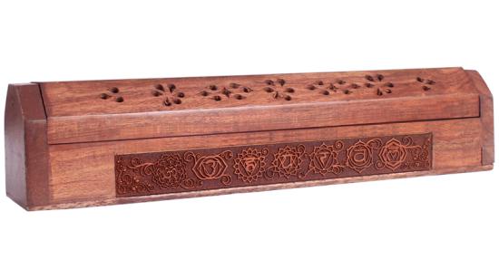 Kästchen mit Symbolen der 7 Chakren
